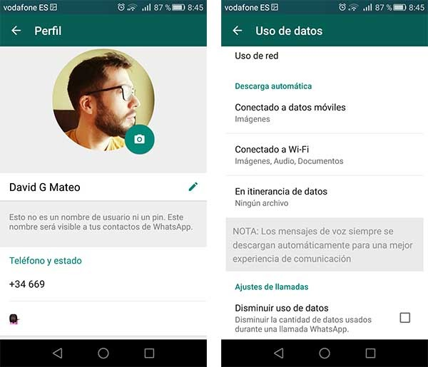 whatsapp ajustes android