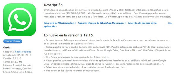 whatsapp problema memoria iPhone