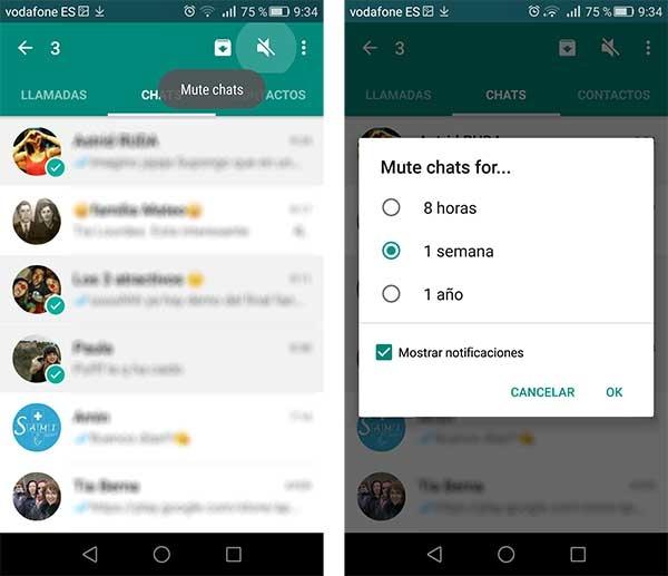 whatsapp silenciar varios chats