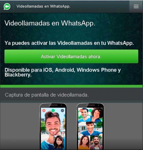 whatsapp activar videollamadas timo