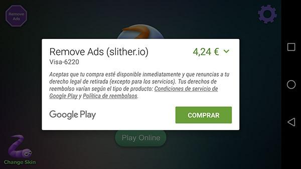 Cómo quitar los anuncios de Slither.io en el móvil