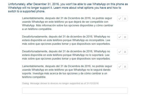whatsapp mensaje móviles antiguos