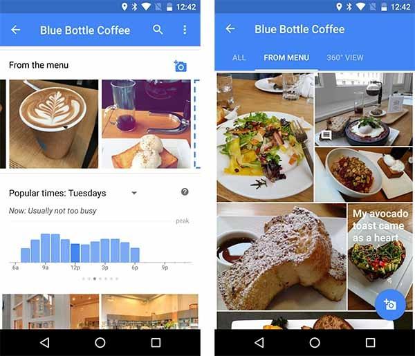 google maps fotos comida