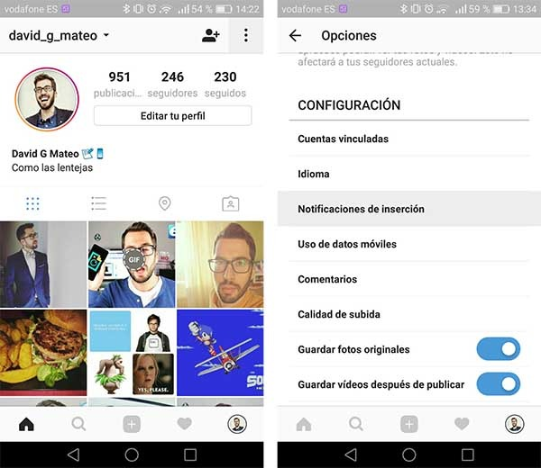 primer paso para desactivar las notificaciones de instagram