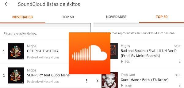 Soundcloud se actualiza con lista de éxitos y top 50