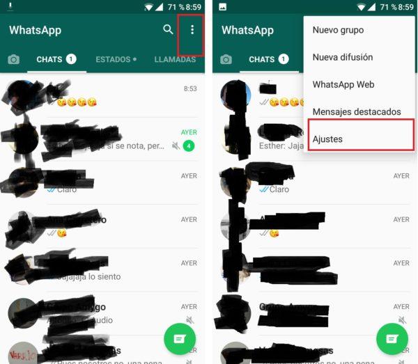 menu de whatsapp