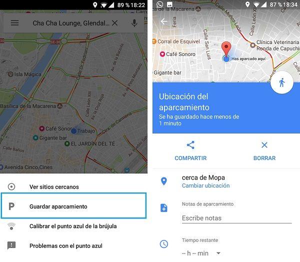 guardar sitio de aparcamiento con google maps