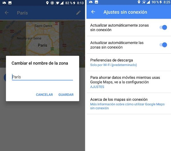 ajustes google maps