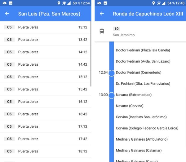 horario bus google maps