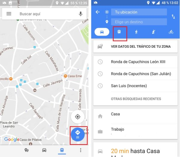 itinerarios en bus google maps
