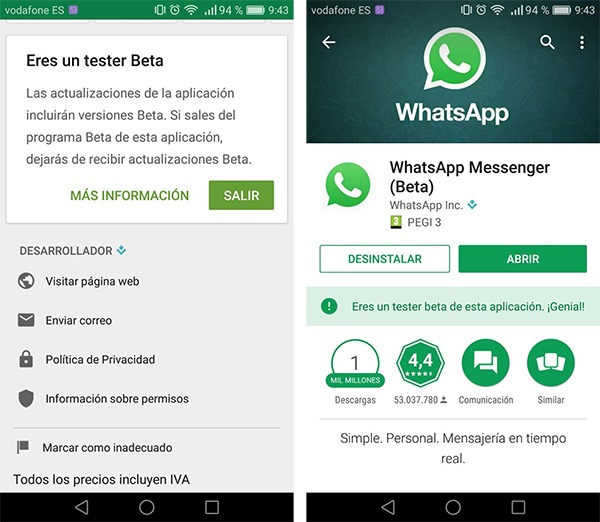 Paso para ser usuario de pruebas de WhatsApp