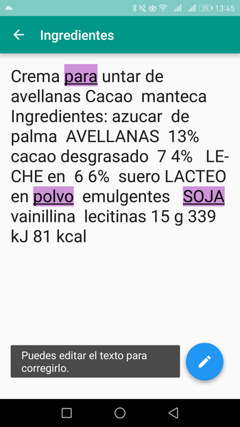 ingred app lista ingredientes
