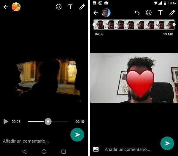 edición de vídeo mejorada whatsapp