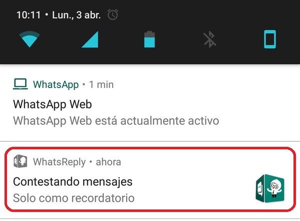 whatsapp reply notificacion