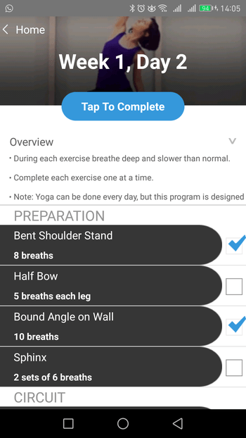 yoga pilates conditioning app móvil