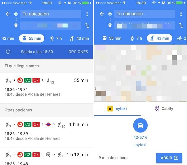 google maps opciones de ruta