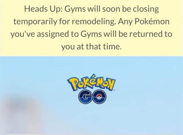 Los gimnasios Pokémon cierran por obras en Pokémon GO