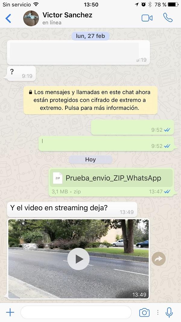 Enviar ZIP en WhatsApp