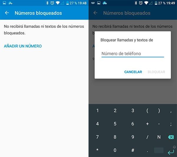 como bloquear números en Android mediante sistema 2