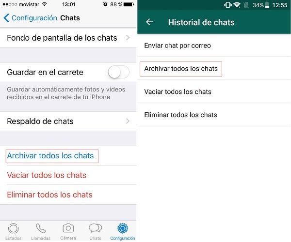 archivar todos los chats de whatsapp