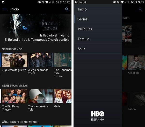 aplicacion hbo menu