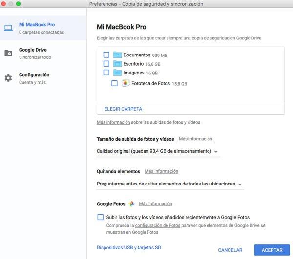 copia de seguridad Google configuracion