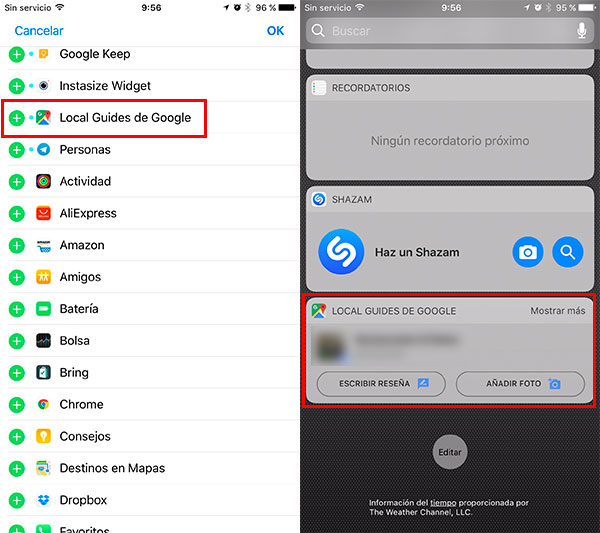 nuevas funciones de Google Maps para iPhone widget Local Guides