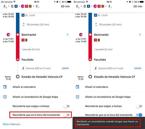 nuevas funciones de Google Maps para iPhone transbordos