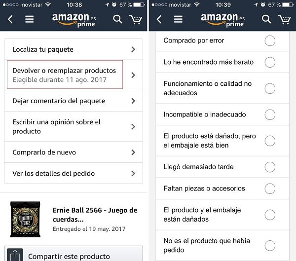 app amazon devolucion