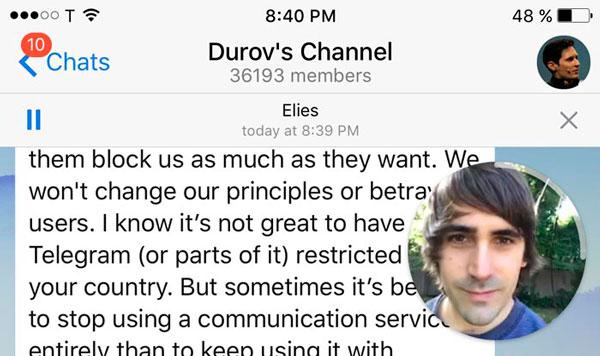 vídeomensajes en Telegram pip