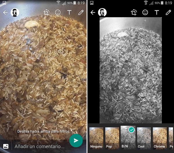 Cómo aplicar filtros a las fotos de WhatsApp