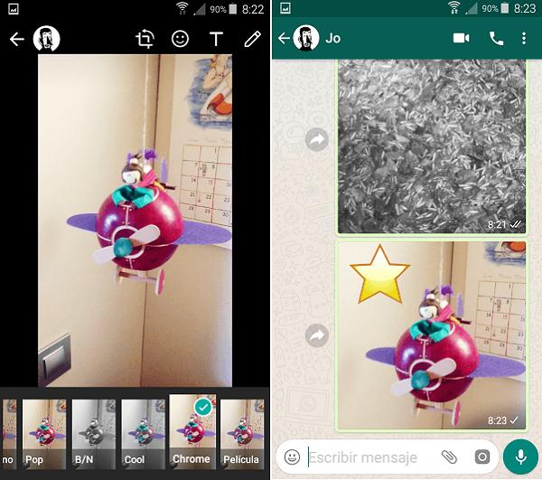 Cómo aplicar filtros a las fotos de WhatsApp 3