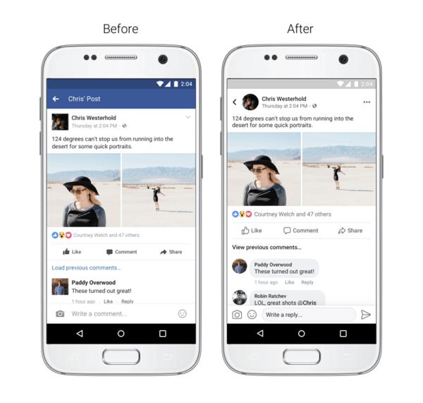 Facebook cambia el aspecto de su app para móvil