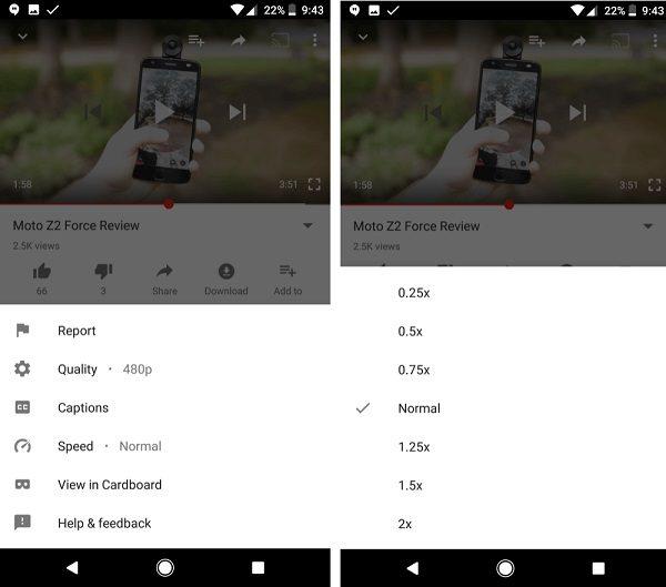 app youtube velocidad