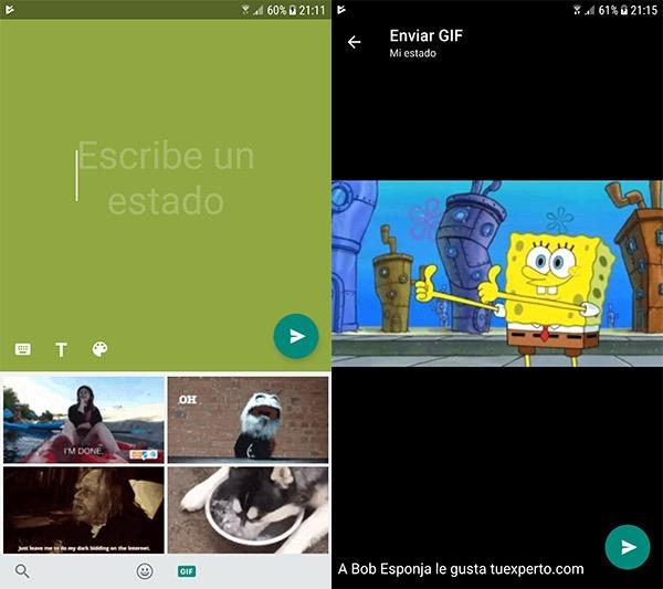 WhatsApp estados texto GIFs