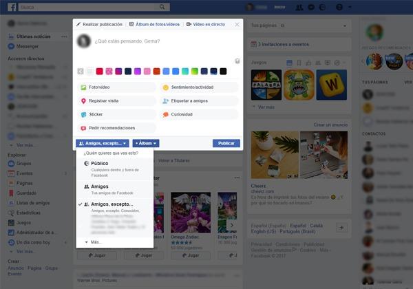 Amigos excepto conocidos Facebook