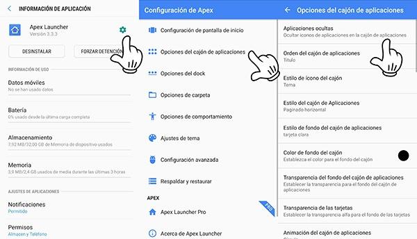 Apex Launcher cómo ocultar apps