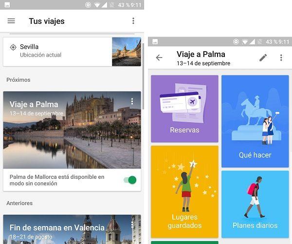 interfaz google trips