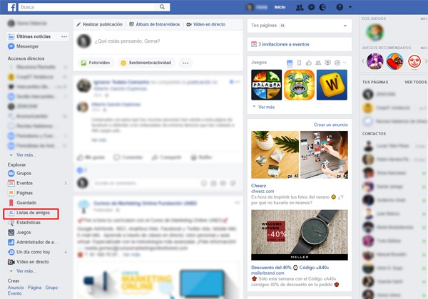 Lista de amigos de Facebook