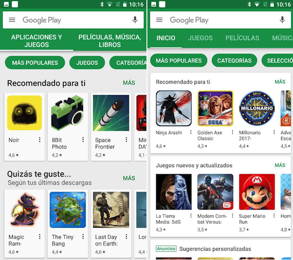 cambios play store