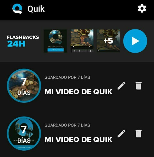 Quik editar video en Android Flashback