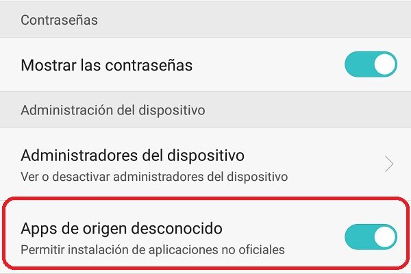 apps de origen desconocido