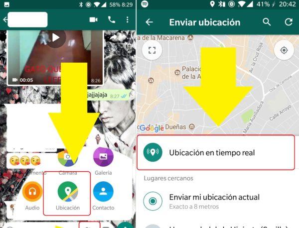 Enviar la ubicación en tiempo real en WhatsApp