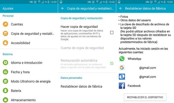 restablecer datos fábrica android
