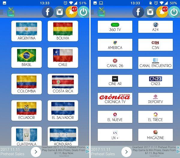 canales sudamericanos tv fibra