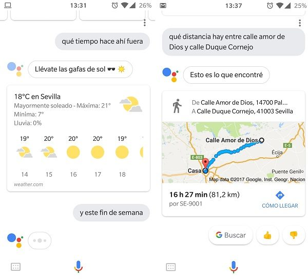 clima y gps asistente de google