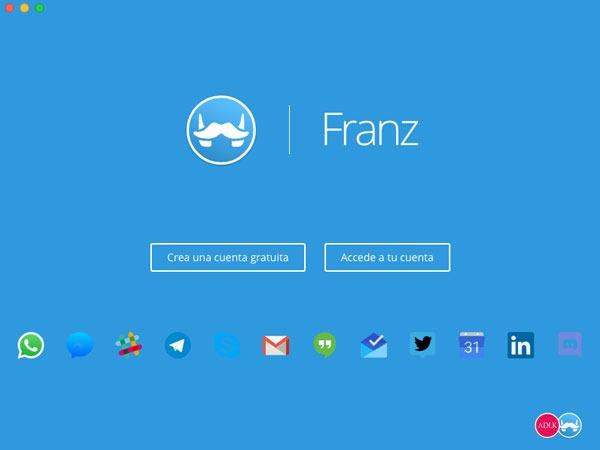 mensajes en app Franz crear cuenta