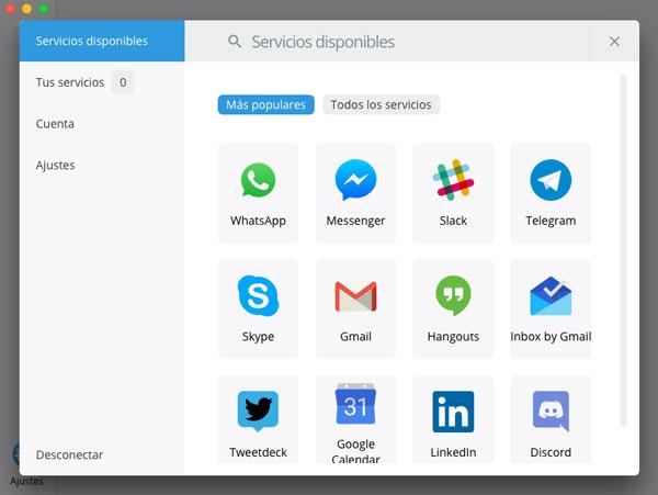 mensajes en app Franz seleccionar servicios