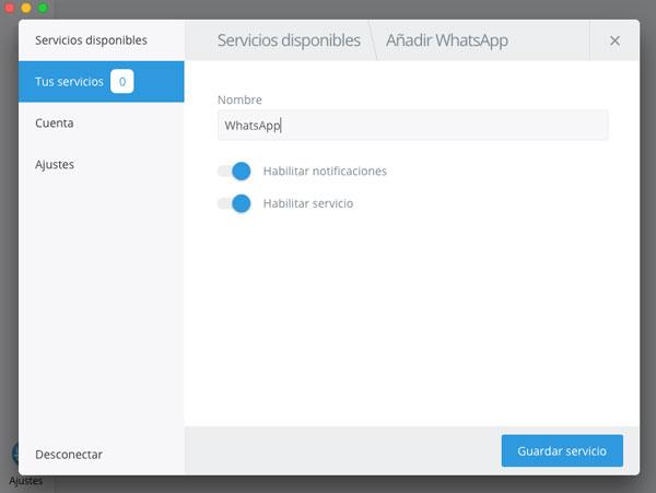 mensajes en app Franz añadir servicio WhatsApp
