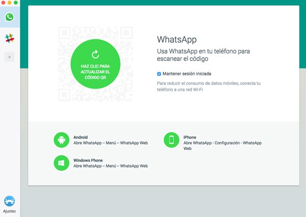 mensajes en app Franz añadir servicio WhatsApp registro